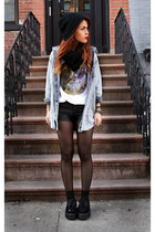 violet youreyeslie t-shirt - black romwe shoes - light blue romwe shirt
