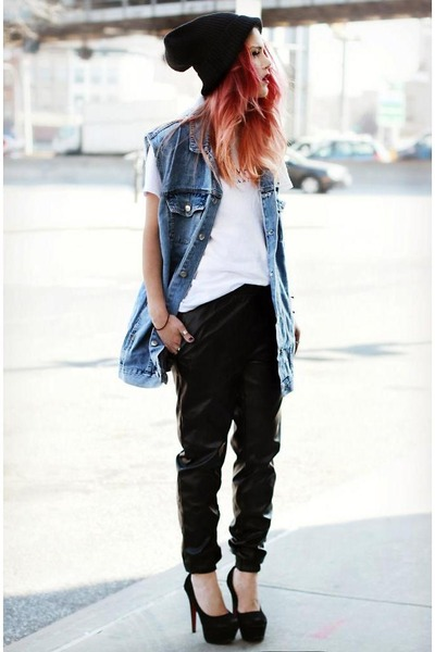 black Modekungen shoes - black asos hat - sky blue Miss KL vest