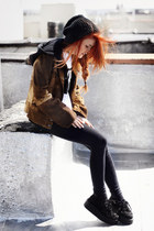 brown vintage jacket - black romwe shoes - navy Forever 21 jeans