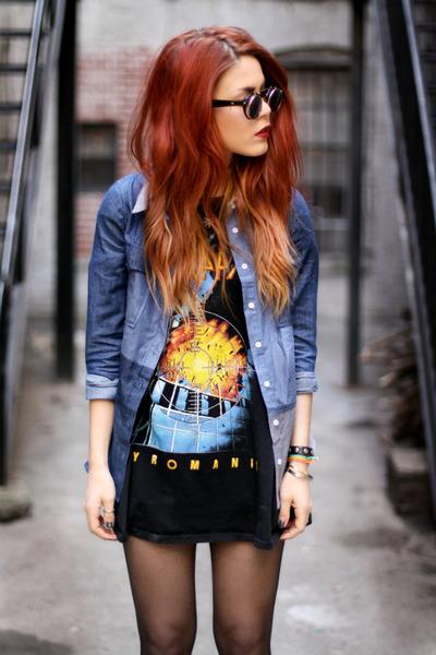 blue Chicwish shirt - black black pyramid t-shirt