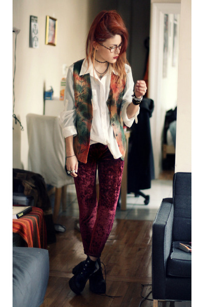dark green vintage vest vest - ruby red velvet leggigns leggings