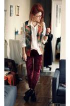 dark green vintage vest vest - ruby red velvet leggigns leggings