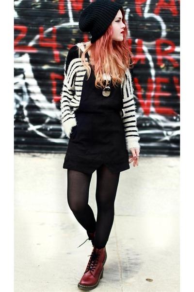 brick red Docs boots - black shop maret hq dress - tan She Inside jumper