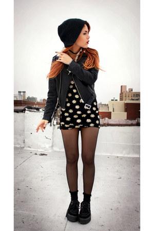 black daisy dress vintage dress - black romwe shoes - black romwe jacket