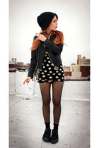 black daisy dress vintage dress - black romwe shoes - black romwe jacket