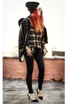 black H&M jacket - brick red boyfriends shirt - black Alainnbella pants