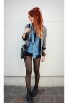 black doc martens boots - heather gray vintage blazer