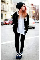 black beanie hat - white asos t-shirt - black soiree pants pants