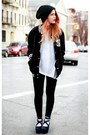 Black-beanie-hat-white-asos-t-shirt-black-soiree-pants-pants