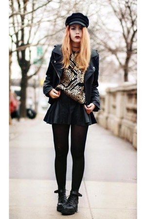 romwe skirt - To Be Announced boots - Chicwish jacket - Choies sweatshirt