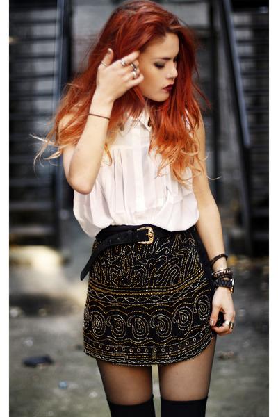 black Boohoo skirt - white awwdore blouse