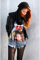 sky blue romwe t-shirt - black Forever 21 jacket - blue One Teaspoon shorts