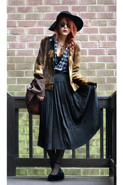 black romwe skirt - bronze vintage jacket - black vintage shirt