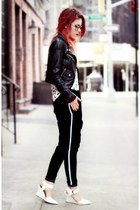 black asos jacket - white chicnova shoes - black chicnova pants