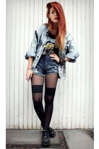 sky blue vintage jacket - black Bongo shoes - blue Yayer shorts