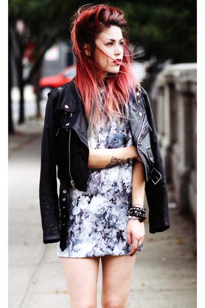 violet anthom dress - black vintage jacket