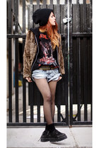 periwinkle vintage shorts - light brown romwe jacket - black boyfriends t-shirt