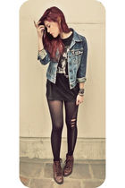 black cousins top - brown vintage shoes - black f21 shorts - blue Levis jacket