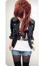 Black-forever-21-jacket-blue-vintage-shorts-white-made-by-me-t-shirt