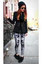 black inlovewithfashion blazer - black creepers shoes - navy BlackMilk leggings