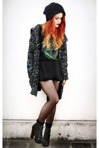 black natural colour cardigan - black vintage skirt - black vintage t-shirt