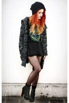 black natural colour cardigan - black vintage skirt - black vintage t-shirt