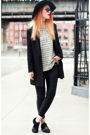 off white H&M sweater - black Jessica Buurman shoes - black romwe blazer