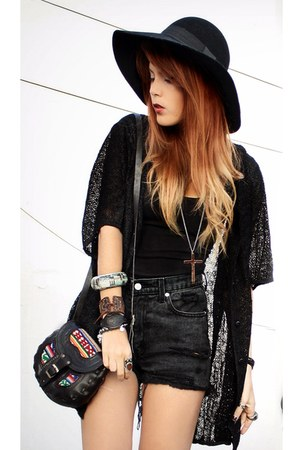 black Forever 21 hat - black peruvian market bag - dark gray vintage shorts