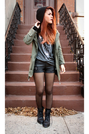 vintage blouse - Docs boots - Chicwish jacket - romwe shorts