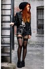 Black-barbie-rawk-shoes-black-second-hand-jacket