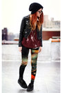 Black-second-hand-jacket-brick-red-evil-twin-leggings