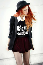 brick red Camote Soup skirt - black romwe blazer - black b-side t-shirt