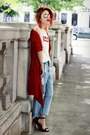 Red-front-row-shop-cape-black-jessica-buurman-shoes-light-blue-romwe-jeans