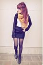 black skirt - black doc martens boots - black vintage Express shirt