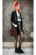 dark green vintage skirt - black romwe blazer