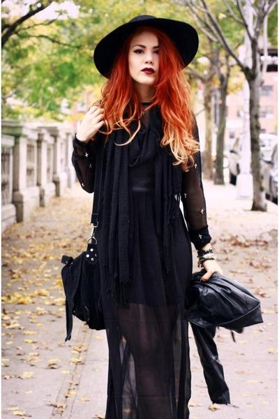 black Alainnbella dress - black River Island hat - black Jessica Buurman bag