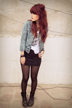 blue Old Navy jacket - black doc martens shoes - silver Forever 21 shirt