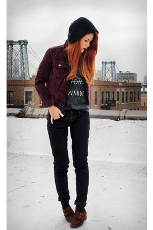deep purple Levis jacket - burnt orange vintage shoes