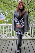 gray vintage cape coat - target peacock feather print dress - black express sued