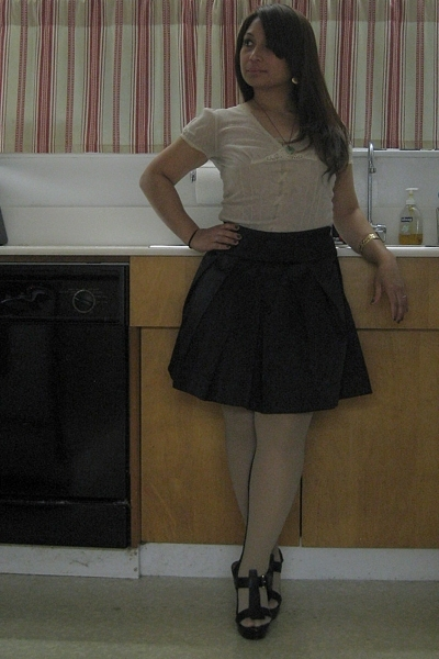 Express blouse - Wet Seal skirt - asos tights - Hale Bob shoes - hawaiian bracel