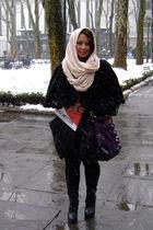 black - black asos coat - pink scarf - black Forever 21 leggings - purple deux l