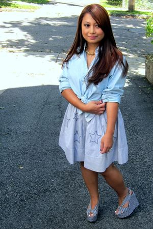 blue Tommy Hilfiger shirt - blue Urban Outfitters skirt - Jeffrey Campbell shoes