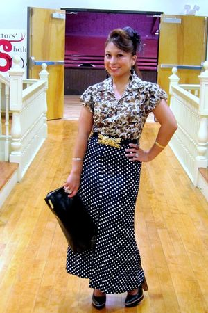 vintage leopardfloral sheer blouse - thrifted polka dot skirt - black mimi di n