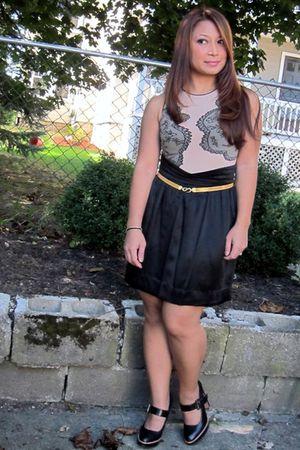 thrifted victorias secret bodysuit top - thrifted black silk skirt - ebay gold c