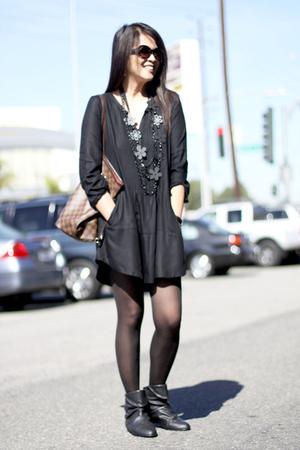 Zara dress - Zara boots - Louis Vuitton accessories
