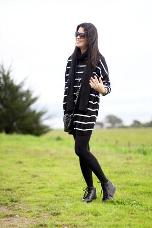 black H&M sweater - black H&M tights - black H&M shoes - black H&M scarf