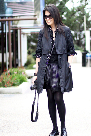 black Mango coat - black Forever 21 jacket - black Forever 21 top - black Foreve