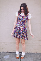 tawny Forever 21 shoes - purple floral vintage dress