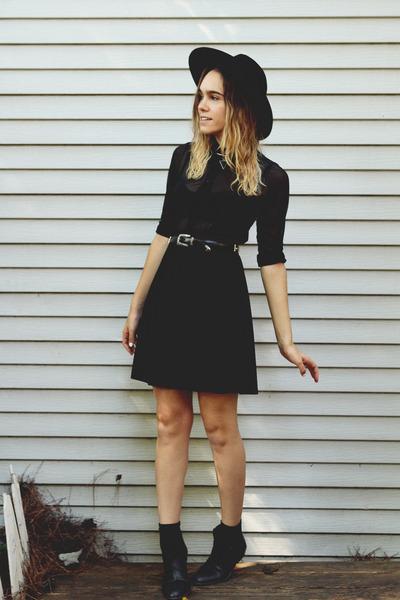 black Urban Outfitters boots - black asos hat - black velvet vintage skirt