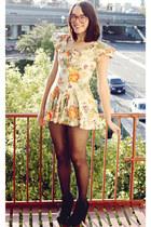 orange floral vintage dress - black heeled Bamboo boots